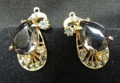 VTG Rhinestone Earrings Designer Smoke Brown Gold Clip DIamonds Paisley Teardrop