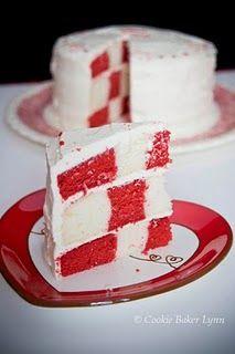 Red Velvet Checkerboard Cake