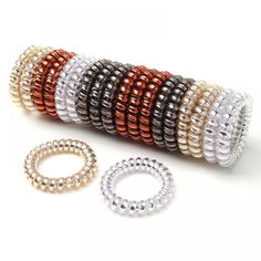 Minlop Spiral Hair Ties 20 Pack Assorted Colors Telephone Cord Wire Hair Bands Spiral Coil Hair Elastics No Damage Hair Ring Ponytail Holders Suitable for All Hair Types Care Styling Accessories Holders Tools-Accessories Sets Care Design Hair Accessories For Women, Fashion Accessories, Bracelet Fil, Hair Bands For Ladies, Cream Nails, Mini Lop, Velvet Hair, Elastic Hair Bands, Ponytail Holders