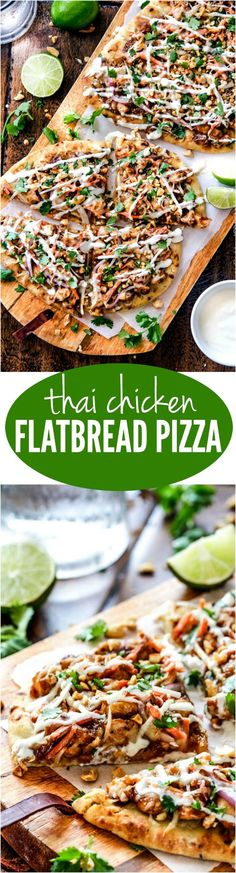 Thai Chicken Flatbread Pizza smothered in easy tangy peanut sauce, tender chicken, carrots, sprouts, mozzarella cheese and the option of Coconut Crema drizzle an amazing flavor bursting quick dinner the whole family will love! One of my favorite te - p Chicken Flatbread, Flatbread Recipes, Grilled Flatbread Pizza, Asian Recipes, Healthy Recipes, Ethnic Recipes, Healthy Breakfasts, Healthy Snacks, Delicious Recipes
