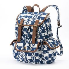 Mudd Aztec Cargo Backpack (Blue) ($30) ❤ liked on Polyvore featuring bags, backpacks, accessories, blue, drawstring backpack bags, aztec print bag, aztec bag, cargo bag and pattern backpack