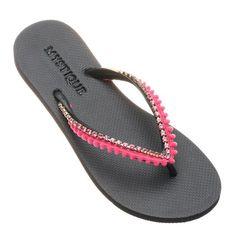 Mystique Sandals, Comfortable Flip Flops, Rubber Flip Flops, Girls Ask, Pink Sandals, Embellished Sandals, How To Make Beads, Flip Flop Sandals, Leather Sandals