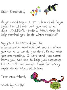 Letter from Strategy Beanie Babies introducing themselves and their strategy. Cute! Would fit right in with Morning Message/whole group reading sessions!