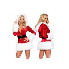 cheap Santa CostumesSanta Costumes for womenWhite Fur Trim Velvet Hooded Santa Costume Mrs Santa CostumesWhite Fur Trim Velvet Hooded Santa Costume Mrs ...  sc 1 st  Pinterest & New Women Christmas Costume Dress Skirt Hooded Santa Claus Cosplay ...
