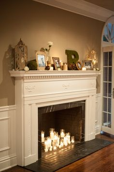 Romantic candle fireplace decorRomantic candle fireplace decorLatest Free Fireplace Ideas Candle Tips Whether you live in Aspen or California .Latest Free Fireplace Ideas Candle Tips Whether you live in Aspen or California . Empty Fireplace Ideas, Candles In Fireplace, Fake Fireplace, Farmhouse Fireplace, Living Room With Fireplace, Fireplace Design, Fireplace Mantels, Living Room Decor, Decorative Fireplace