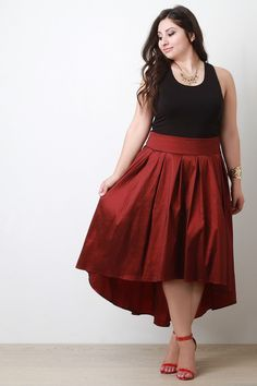 Pleated Taffeta High-Low Skirt