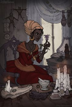 (Marie Laveau by IrenHorrors on DeviantArt) I think this art style is good inspiration to developing an art style for the game. Marie Laveau is also iconic to New Orleans Voodoo.
