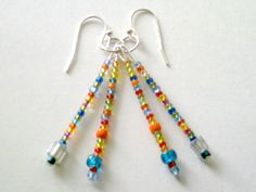 Multi Color Size and Shape Glass Seed Bead Earrings (Fiesta) by CharmedThings on Etsy