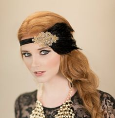 Gold Beaded Fascinator, 1920s Flapper Dress Hair Accessories, Black Feather Headband