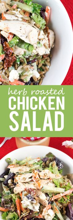 Herb Roasted Chicken Salad Herb Roasted Chicken Salad - Super healthy, easy and packed with protein! Roast chicken breast, mixed salad, chunks of creamy feta, sunflower seeds and sundried tomatoes! Roasted Chicken Breast, Herb Roasted Chicken, Chicken Salad, Roast Chicken, Clean Eating Diet, Clean Eating Recipes, Healthy Eating, Salad Recipes, New Recipes