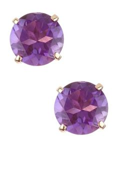 14K Yellow Gold Faceted Amethyst Stud Earrings--Love these!!!!