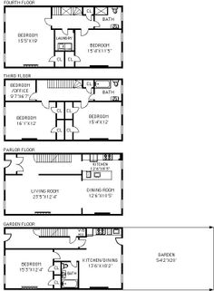 Proposed 1st Thru 4th Floor Plans Townhouse Floor Plans