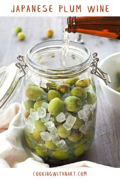 3 Ingredient Japanese green plum wine or umeshu recipe. Easy homemade drink for parties and celebrations. Has to be made 6 months in advance. Plum Recipes, Wine Recipes, Cooking Recipes, Asian Recipes, Plum Varieties, Japanese Plum, Japanese Food, Homemade Liquor, Sushi Party