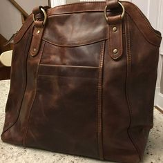 Large Brown Leather Handbag Tote Leather Shoulder Bag | Etsy Brown Leather Backpack, Brown Leather Handbags, Tan Leather, Leather Shoulder Bag, Leather Crossbody, Crossbody Bag, Chelsea, Handbag Organization, Handbag Organizer