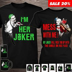 Matching Shirts, Matching Outfits, Harley And Joker Love, Rocker Outfit, Couple Shirts, Edgy Outfits, Joker Cake, Joker Suit, Jazz