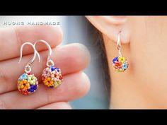 Multicolor beaded bead earrings. How to make beaded earring. Beading tutorial - YouTube Beaded Earrings Patterns, Bead Earrings, Bracelet Patterns, Beading Patterns, Beaded Bracelets, Bead Making Tutorials, Beading Tutorials, Antique Jewellery Designs, Earring Tutorial