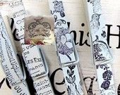 French Script Hand Stamped Ink Clothespins. $5,00, via Etsy.