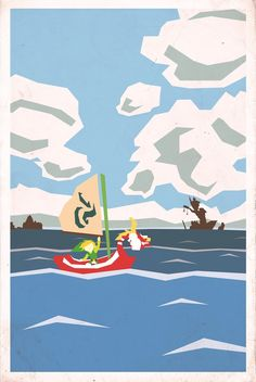 Link with The King of Red Lions, Windfall and the Forsaken Fortress in the horizon - The Legend of Zelda: The Wind Waker