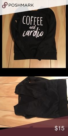 Yoga shirt with open back Adorable coffee and cardio sweater great for yoga jogging or just lounging in, or  drinking a coffee Sweaters