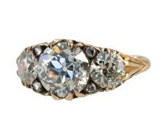 Victorian Ring With Three Old European Cut Diamonds