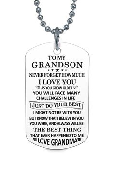 Grandma Quotes Discover To My Grandson Love Grandma Dog Tag Necklace Birthday Anniversary Graduation Gift Grandson Sayings, Grandson Birthday Quotes, Quotes About Grandchildren, Grandkids Quotes, Boy Quotes, Gift Quotes, Family Quotes, My Children Quotes, Quotes For Kids