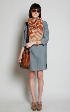 Shift dress and fab scarf