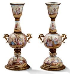 Second Empire, Objet D'art, Silver Enamel, Potpourri, Vienna, Candle Holders, Candles, Crystals, Drouot