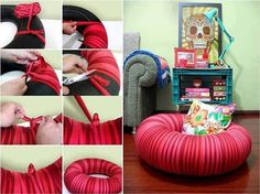 An tube can be used for a great lounging chair that you can decorate to go in any room.  Super easy and super fast.  You can use any kind of material