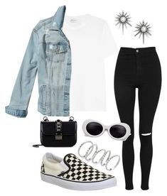 A fashion look from August 2017 featuring tee-shirt, blue jean jacket and ripped skinny jeans. Browse and shop related looks. Fall College Outfits, Summer School Outfits, Spring Fashion Outfits, Trendy Fashion, Womens Fashion, Fashion Clothes, Fall Fashion, Stylish Outfits, Cute Outfits
