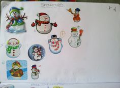 Snowman page from a sticker slam Slammed, Snowman, Snoopy, Stickers, Paper, Fun, Handmade, Hand Made, Sticker
