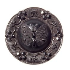 27mm Czech antique vintage Victorian lacy marcasite floral butterfly black glass button D164-40