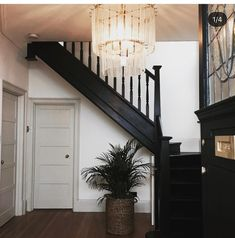 Black staircase complete in this large hallway painted in little greene jack black with an oversized murano style chandelier taking centre stage. Woodwork painted in farrow and ball shadow white Black Hallway, Black Staircase, Staircase Design, Black Banister, Entryway Stairs, House Stairs, Stairs In Centre Of Hallway, Upstairs Hallway, House Doors