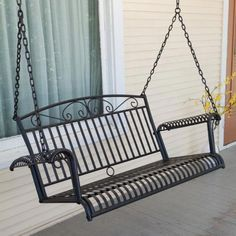 International Caravan Tropico Wrought Iron Porch Swing - Porch Swings at Hayneedle Wicker Porch Swing, Outdoor Patio Swing, Patio Lounge Chairs, Patio Seating, Swing Chairs, Swing Seat, Beach Chairs, Lawn Furniture, Wicker Furniture