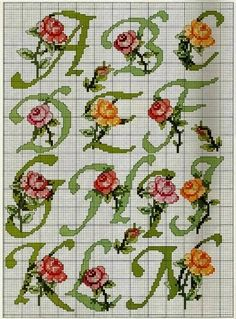 Alphabet with roses Counted Cross Stitch Patterns, Cross Stitch Charts, Cross Stitch Designs, Cross Stitch Embroidery, Cross Stitch Letters, Cross Stitch Rose, Cross Stitch Flowers, Embroidery Fonts, Hand Embroidery Patterns