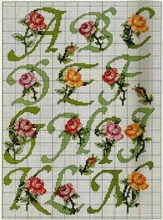 Schema per il punto croce: Alfabeto con le rose