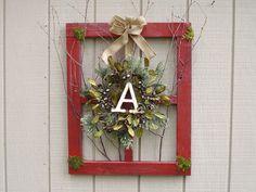 Monogram Pine Wreath on Barn Window / Window by KathyKirchoff