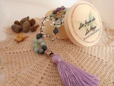 Mala 108 Cuentas con Cuenta Guru de Plata Tassel Necklace, Tassels, Jewelry, Fashion, Silk Thread, Bead Necklaces, Amethyst, Natural Stones, Clock