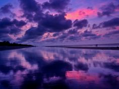 Magnificent and Ravishing Colors-Purple Pink Sunrise on the Beach.