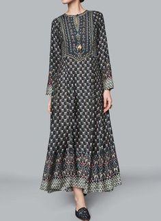 Floral Peasant Round Neckline Maxi A-line Dress