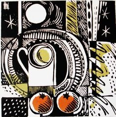 """""""Double orange"""" by Jane Walker. Linocut - Edition:50 - Image size (mm) 150x150, Mounted print, £75.00 ~ www.janewalkerprintmaker.com"""