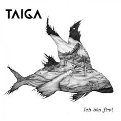 Taiga- Cd- Cover • Flying Fish, Pencil Drawing, Black and White, Illustration- by Jana Walczyk
