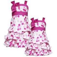 Rare Editions GIRLS 2T-6X FUCHSIA-PINK DOT PRINT PICK-UP BUBBLE SHANTUNG Special Occasion Wedding Flower Girl Easter Party... $42.00 - $44.80