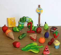 The Very Hungry Caterpillar Complete Set  (polymer clay) cake topper or decoration by JadestoneStudio, $59.00