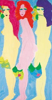WALASSE TING (1920-2010) Three Beauties Acrylic on paper Dated 1989 178×96cm 丁雄泉(1920-2010)三美圖 紙本 丙烯 1989年作 鈐印:採花大盜(朱)