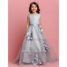 A-line Jewel Floor-length Organza And Satin Flower Girl Dress
