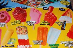 Ice lollies from the good old days, two of my favorites which I bought both from the Ice Cream Man and the local shops were Zoomand Fab What were yours? Food Uk, 90s Food, Vintage Sweets, Retro Sweets, Retro Food, Vintage Toys, 1980s Childhood, My Childhood Memories, Walls Ice Cream