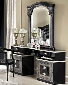 ESF Camelgroup Italy Aida Black Silver Vanity Dresser and Mirror