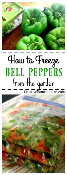 How to freeze bell peppers from the garden for my favorite bell pepper recipes! Learn the easy way to freeze extra bell peppers from the garden. Freezing Vegetables, Frozen Vegetables, Freezing Fruit, Freezing Tomatoes, Canning Vegetables, Steamed Vegetables, Veggies, Freezing Green Peppers, How To Freeze Peppers