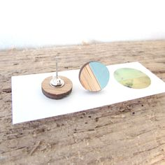 Round Bamboo Earrings | Hand Painted in teal | Laser Cut | Hand Made |13mm Photo On Wood, Wood Print, Laser Cutting, Bamboo, Jewelry Making, Teal, Hand Painted, Jewellery, Unique Jewelry