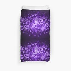 College Dorm Bedding, Music Notes, Duvet Insert, Colorful Backgrounds, Duvet Covers, Glow, Purple, Twin, Bath